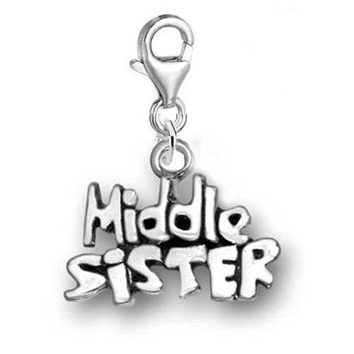 Clip on Middle Sister Charm for European Clip on Charm Jewelry w/ Lobster Clasp