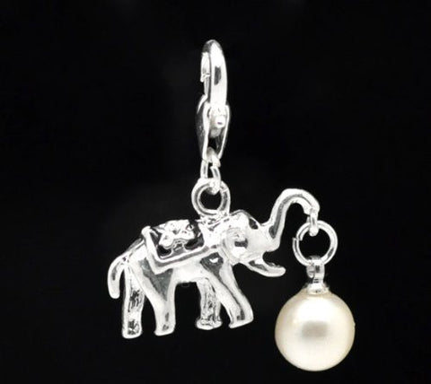 Clip on Elephant with White Imitation Pearl Charm for European Jewelry w/ Lobster Clasp - Sexy Sparkles Fashion Jewelry - 2