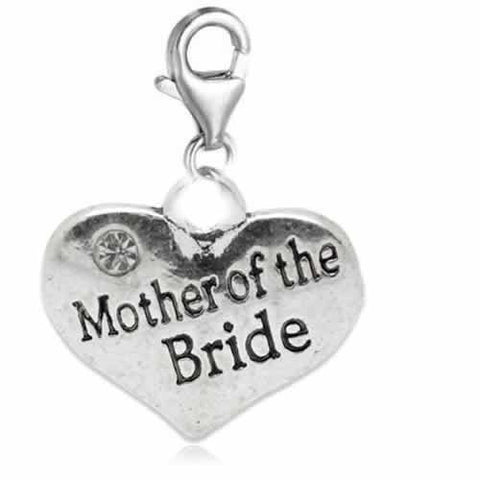 Clip on Wedding Mother of the Groom Heart w/ Crystals Charm Dangle Pendant for European Clip on Charm Jewelry w/ Lobster Clasp - Sexy Sparkles Fashion Jewelry - 2