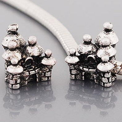 Castle Bead Charm Spacer For Snake Chain Charm Bracelet - Sexy Sparkles Fashion Jewelry - 2