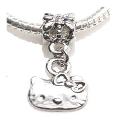 Kitty Dangle Charm European Bead Compatible for Most European Snake Chain Bracelets
