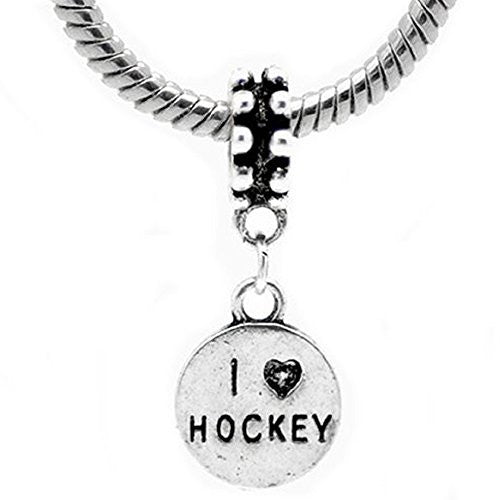 2 Sides I Love Hockey European Bead Compatible for Most European Snake Chain Bracelet