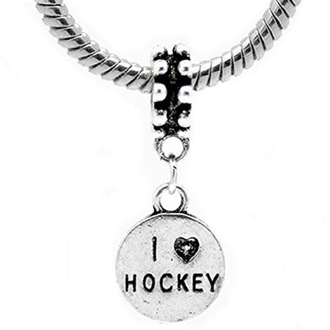 2 Sides I Love Hockey European Bead Compatible for Most European Snake Chain Bracelet - Sexy Sparkles Fashion Jewelry - 1