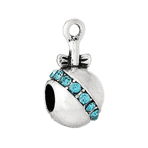 Blue Baby Rattle w/ Bow and Created Crystals Charm Bead - Sexy Sparkles Fashion Jewelry - 1