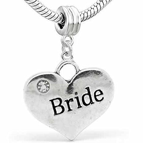 Wedding Charms Heart W/Crystal Dangle Charm Bead For Snake Chain Bracelet (Bride) - Sexy Sparkles Fashion Jewelry - 1