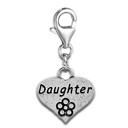 Clip on Daughter on Heart Dangle Charm Pendant for European Jewelry w/ Lobster Clasp