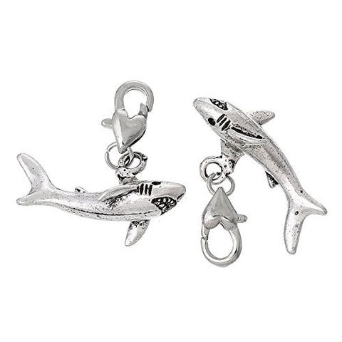 Shark Clip on for Bracelet Charm Pendant for European Charm Jewelry w/ Lobster Clasp - Sexy Sparkles Fashion Jewelry - 2