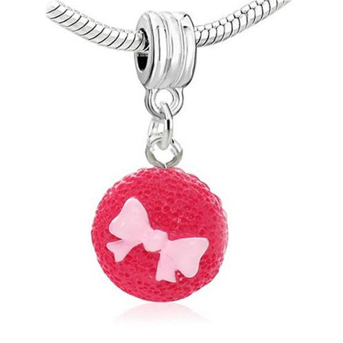 Fuchsia Cupcake Clip On For Bracelet Charm Pendant for European Charm Jewelry w/ Lobster Clasp