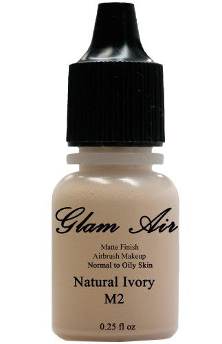 Airbrush Makeup Foundation Matte Finish M2 Natural Ivory Water-based Makeup Lasting All Day 0.25 Oz Bottle By Glam Air - Sexy Sparkles Fashion Jewelry - 1