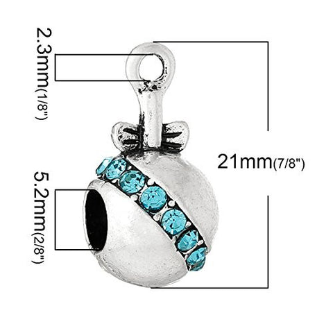 Blue Baby Rattle w/ Bow and Created Crystals Charm Bead - Sexy Sparkles Fashion Jewelry - 3