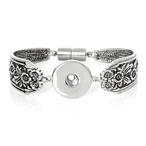 Chunk Snap Jewelry Bangles Antique Silver Magnetic Clasp Flower Pattern (7 5/8) Long - Sexy Sparkles Fashion Jewelry - 1