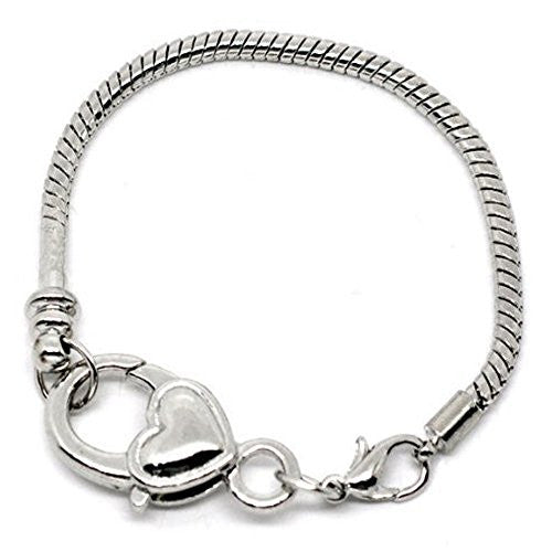 "9.0"" Heart Lobster Clasp Charm Bracelet Silver Tone for European Charms"