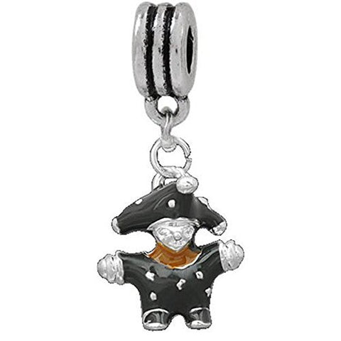 3d Black Enamel Clown European Bead Compatible for Most European Snake Chain Charm Bracelet - Sexy Sparkles Fashion Jewelry - 1