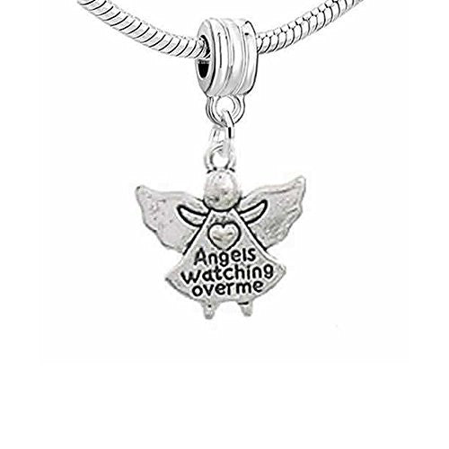 Angels Watching Over Me Dangle Charm European Bead Compatible for Most European Snake Chain Bracelet