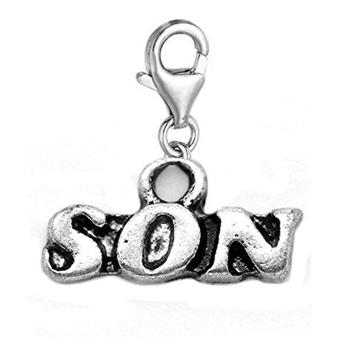 Son Clip On For Bracelet Charm Pendant for European Charm Jewelry w/ Lobster Clasp