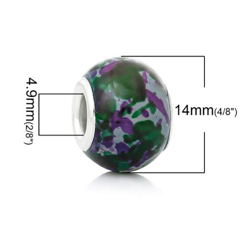 5 Glass European Charm Beads Round Multi color - Sexy Sparkles Fashion Jewelry - 2