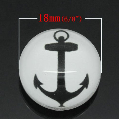 Anchor Design Glass Chunk Charm Button Fits Chunk Bracelet 18mm for Noosa Style Chunk Leather Bracelet - Sexy Sparkles Fashion Jewelry - 2
