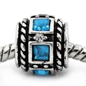 Aqua Squre Design Birthstone Charm Beads for Snake Chain Bracelets - Sexy Sparkles Fashion Jewelry - 4