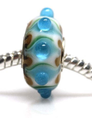 Blue and Green Pattern Murano Glass European Bead Compatible for Most European Snake Chain Bracelet - Sexy Sparkles Fashion Jewelry - 1