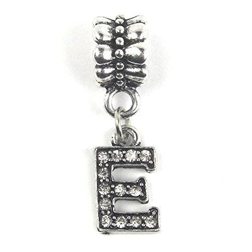 """E"" Letter Dangle Charm Beads with Crystals for Snake Chain Charm Bracelet - Sexy Sparkles Fashion Jewelry"