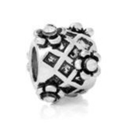 April Birthstone Charm Bead W/Clear  Crystals