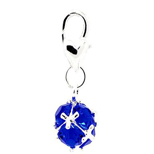 Septemeber Birthstone Dangle Charm Pendant for European Clip on Charm Jewelry w/ Lobster Clasp