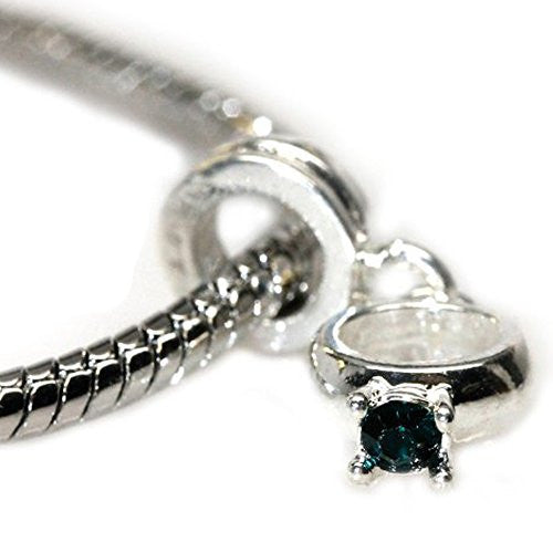 Rhinestone Engagement Ring Dangle European Bead Compatible for Most European Snake Chain Bracelet