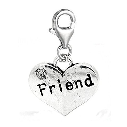 Clip on Friend Two Sided Heart Charm Pendant for European Jewelry w/ Lobster Clasp