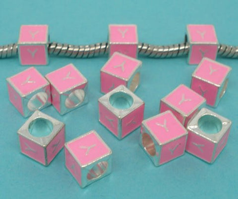 """Y"" Letter Square Charm Beads Pink Enamel European Bead Compatible for Most European Snake Chain Charm Bracelet - Sexy Sparkles Fashion Jewelry - 2"