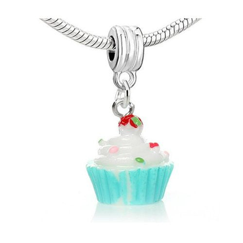 Cupcake w/Cherry on Top dangling Bead European Bead Compatible for Most European Snake Chain Charm Bracelets