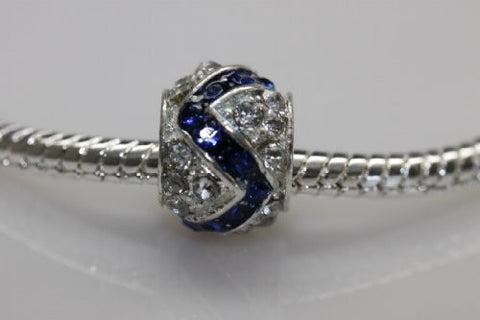 Clear and Royal Blue  Crystal Charm Bead for snake charm Bracelet - Sexy Sparkles Fashion Jewelry - 3