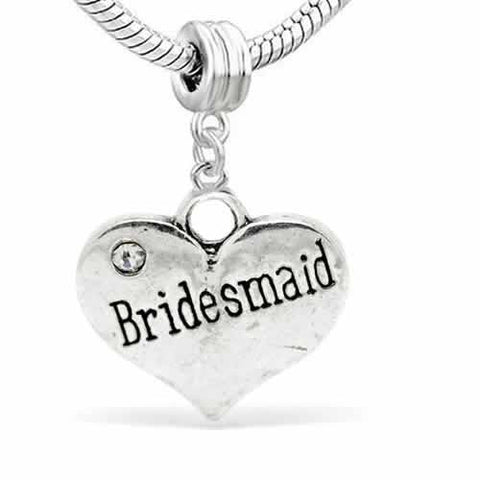 Wedding Charms Heart W/Crystal Dangle Charm Bead For Snake Chain Bracelet (Bridesmaid) - Sexy Sparkles Fashion Jewelry - 2