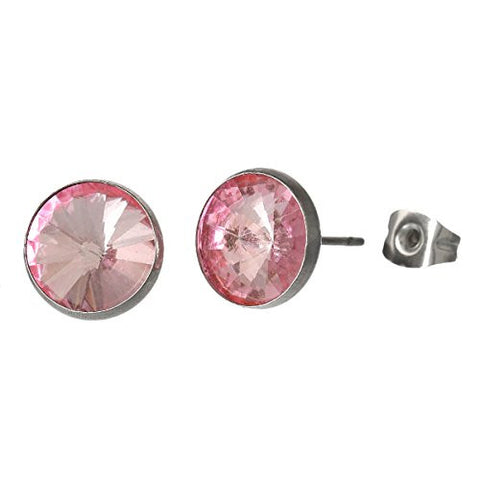 June Birthstone Stainless Steel Post Stud Earrings with  Rhinestone - Sexy Sparkles Fashion Jewelry - 1