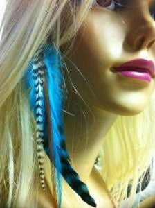 Indian Blue Clip on Feather Hair Extension Approx 6-7 Long Salon Quality Feathers - Sexy Sparkles Fashion Jewelry