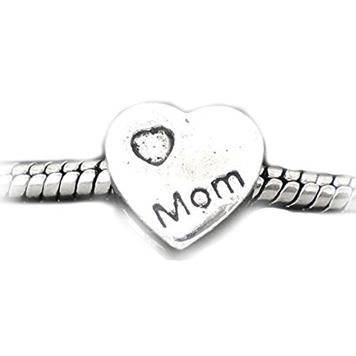 """Mom"" Heart Bead European Bead Compatible for Most European Snake Chain Bracelet - Sexy Sparkles Fashion Jewelry - 1"