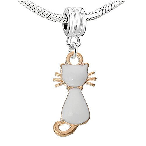White Cat With Wiskers Charm Dangle Bead Compatible with European Snake Chain Charm Bracelets