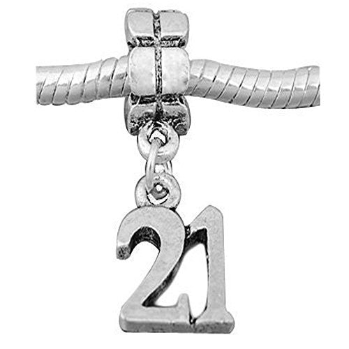 Number 21 Dangle Charms for Snake Chain charm Bracelets