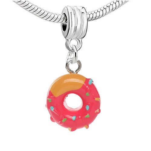 Donut w/ Fuchsia Icing Dangling European Bead Compatible for Most European Snake Chain Charm Bracelets