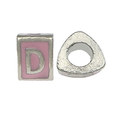 """D"" Letter Triangle Charm Beads  Pink Spacer for Snake Chain Charm Bracelet - Sexy Sparkles Fashion Jewelry"