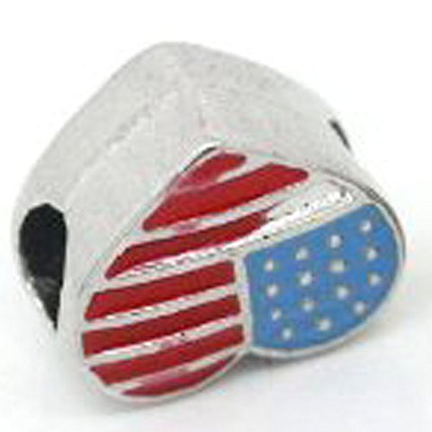 American Flag Heart Spacer Beads for Snake Chain Charm Bracelet - Sexy Sparkles Fashion Jewelry - 1