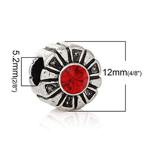 Round Charm Bead W/ Red  Crystal Spacer - Sexy Sparkles Fashion Jewelry - 2