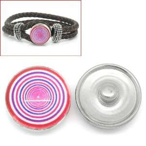 Circle Rings Design Glass Chunk Charm Button Fits Chunk Bracelet - Sexy Sparkles Fashion Jewelry - 4