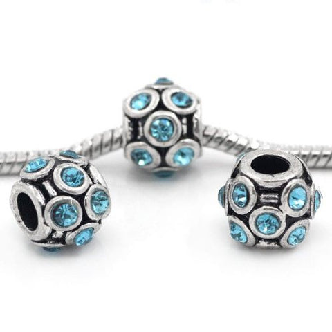 Lantern Shape Charm w/ Rhinestones Spacer Beads for Snake Chain Bracelet - Sexy Sparkles Fashion Jewelry - 3