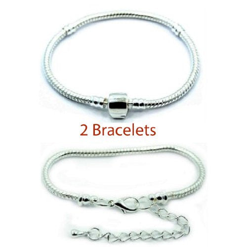 "2 (Two) 7"" Silver Tone Snake Chain Classic Bead Barrel Clasp + Starter Master Lobster Clasp Bracelet. - Sexy Sparkles Fashion Jewelry"