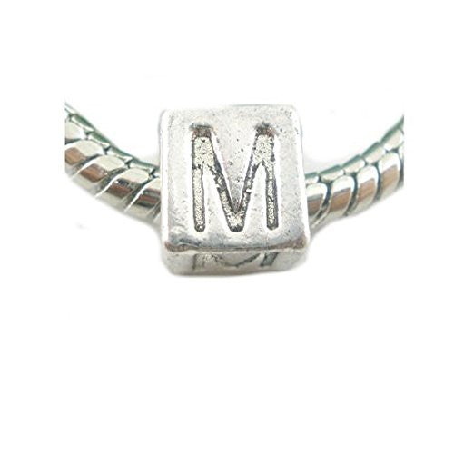 One Alphabet Block Beads Letter M for European Snake Chain Charm Braclets