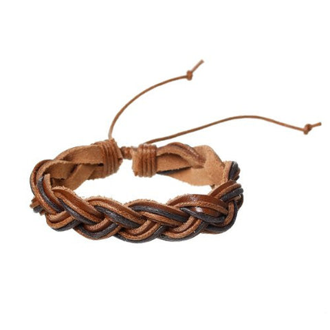 Coffee Cowhide Rope Braided Bracelet - Sexy Sparkles Fashion Jewelry - 1