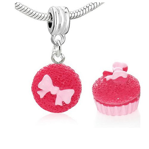 Cupcake w/Fuchsia Frosting European Bead Compatible for Most European Snake Chain Charm Bracelets