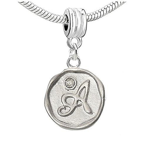 Alphabet Letter A Carved with Clear  Crystals Charm Dangle Bead Compatible with European Snake Chain Bracelets