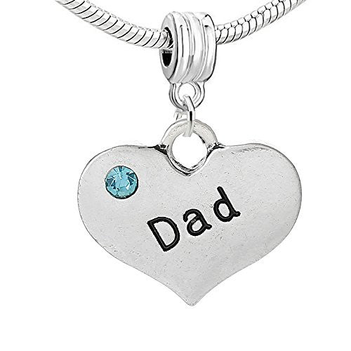 Dad Heart Pendant w/ Blue  Crystal Bead Compatible for Most European Snake Chain Bracelet