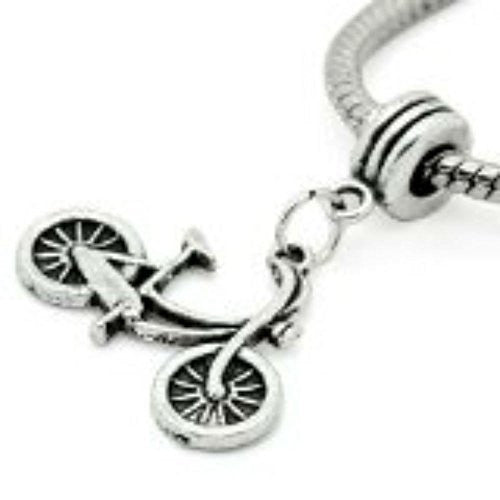Silver Tone Bicycle Dangle Spacer Beads For Snake Chain Charm Bracelet